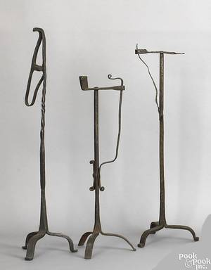 Two wrought iron table top standing candleholders 19th c