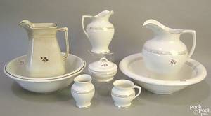 Ironstone table articles to include pitcher and wash bowl