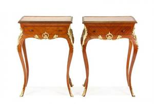 Pair of Louis XV Style Burled Walnut Side Tables