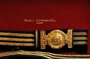 Cased Model 1852 Presentation Sword by Bigelow Kennard  Co and Other Objects Relating to Rear Admiral Frank Wildes USN