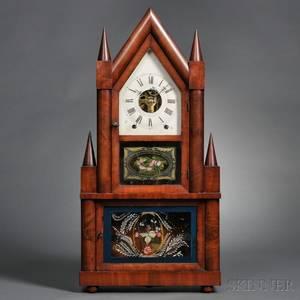 Birge  Fuller Mahogany Double Steeple Wagon Spring Shelf Clock