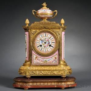 French Porcelain and Ormolu Shelf Clock