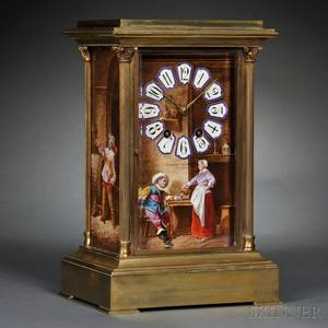 French Brass Shelf Clock with Porcelain Panels