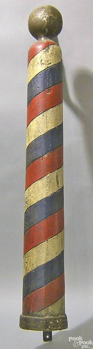 Carved and painted barber pole