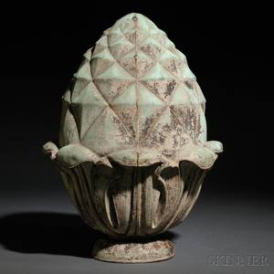 Molded Copper Pineappleform Architectural Finial