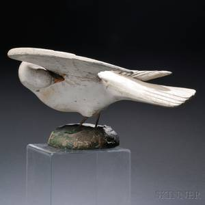Folk Carved and Painted Wood Preening Dove Figure