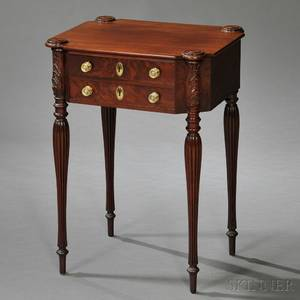 Federal Carved Mahogany and Mahogany Veneer Work Table