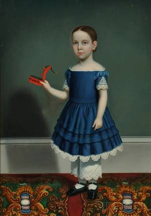 Attributed to William Thompson Bartoll Marblehead Massachusetts 18171859 Portrait of a Child Wearing a Blue Dress Holding a Tinwa