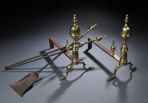 Brass and Iron Faceted Belted Lemontop Andirons with Two Matching Tools