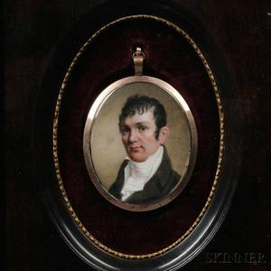 AngloContinental School Late 18thEarly 19th Century Portrait Miniature of a Gentleman Reportedly Robert Burns