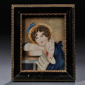 AmericanContinental School 19th Century Portrait Miniature of a Young Woman Holding a Mask