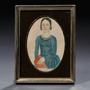 American School 19th Century Small Portrait of a Young Woman Holding a Red Book