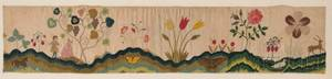 Pictorial Needlework Petticoat Border with Figures in a Landscape