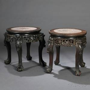 Pair of Export Marbletop Stands