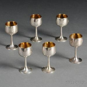 Set of Six Export Silver Cordials