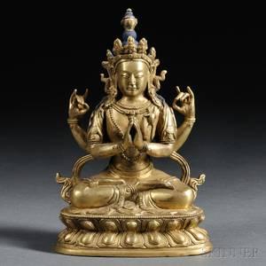 Giltbronze Figure of Sadaksari Lokesvara