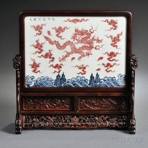 Blue and Red Porcelain Table Screen on Wood Stand