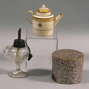 Small Hannah Davis Band Box Creamware Teapot and a Small Pressed Glass Hand Lamp