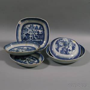Five Blue and White Canton Porcelain Items