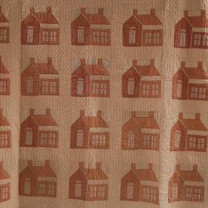 Pieced and Appliqued Cotton House Quilt