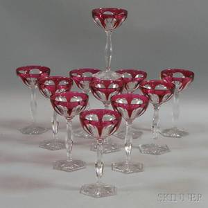 Set of Twelve Cranberry Cuttoclear Glass Goblets