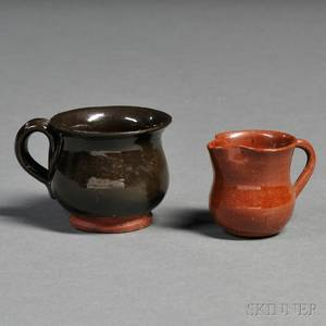 Miniature Redware Pitcher and Mug