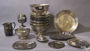 Large group of silver plate to include bowls