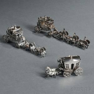 Three Continental Silver Miniature Carriageform Salts