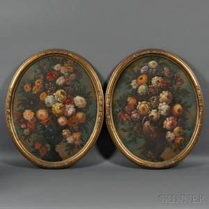 Continental School 19th Century Pair of Oval Floral Still Lifes