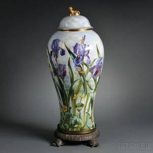 Limogesstyle Porcelain Covered Floor Vase on Stand