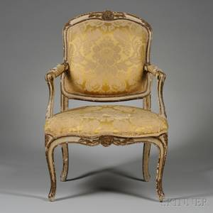 Louis XV Upholstered Beechwood Fauteuil