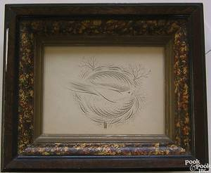 Three ink on paper calligraphy drawings of birds 19th c