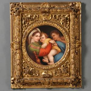 Italian Handpainted Porcelain Plaque Depicting the Madonna della Seggiola