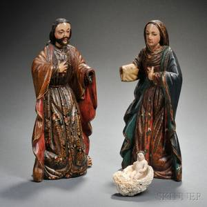 Spanish Colonial Carved and Painted Wood Nativity Figures
