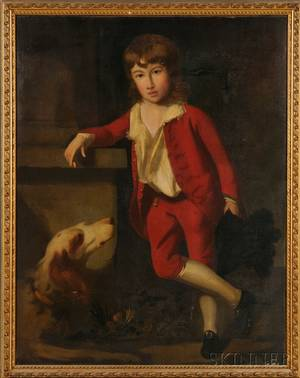 AngloContinental School 18th Century Portrait of a Boy in Red Beside a Column with His Dog