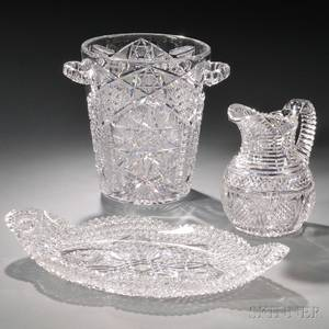 Three Colorless Cut Glass Items