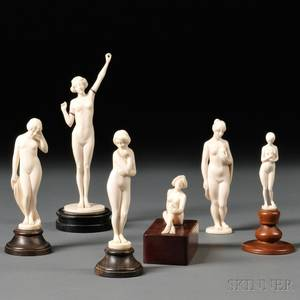 Six Carved Ivory Figures of Female Nudes