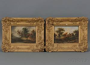 Continental School 19th Century Pair of Landscapes with Rustic Cottages
