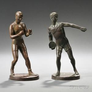Continental School 20th Century Two Bronze Figures of Athletes
