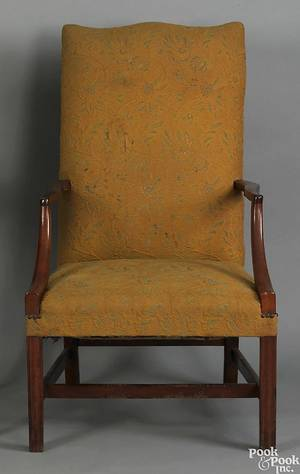 New England Federal mahogany lolling chair ca 1790