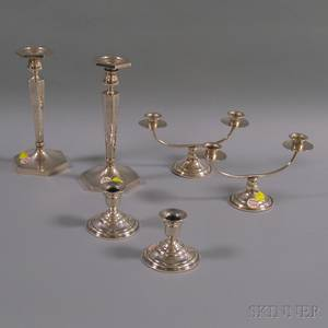 Three Pairs of Sterling Silver Candleholders