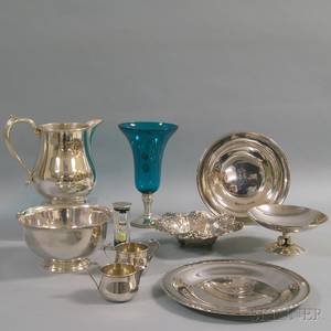Ten Pieces of Sterling Silver and Silvermounted Tableware and Decorative Items