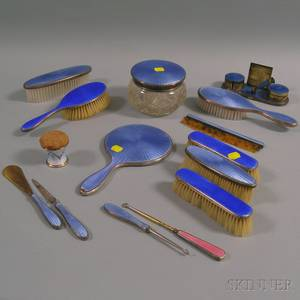 Assembled Group of Sterling Silvermounted Guilloche Enameled Dresser Items