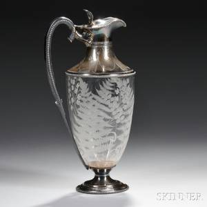 English Sterling Silvermounted Etched Glass Wine Ewer