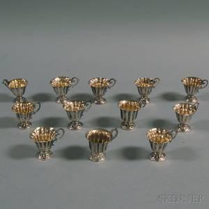 Set of Twelve Continental 800 Silver Liquor Cups