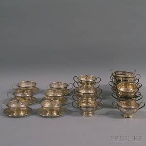 Three Partial Sets of Sterling Silver Bouillon Cup Sleeves