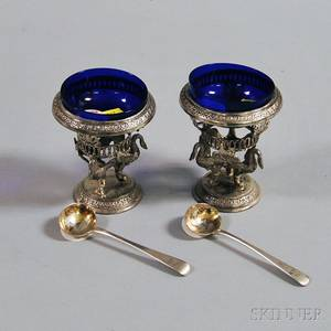 Pair of Dutch Silver Footed Master Salts with Swan Bases