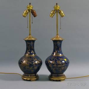 Pair of Gilt Blue Porcelain Vase Table Lamps