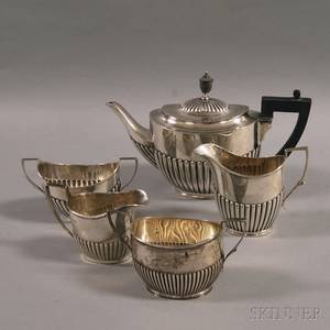 Five Assembled English Silver Tea Service Items