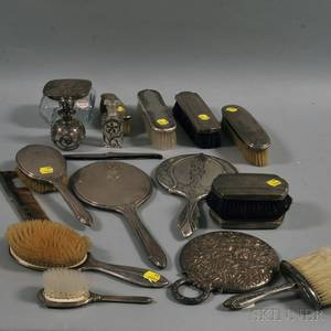Group of Sterling Silvermounted Dresser Items